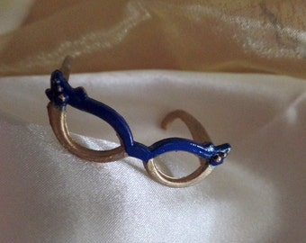 Cats eye doll glasses handpainted gold and sapphire blue made in USA for Monster High Liv Bratz Ever After, mini diorama shadowbox glasses