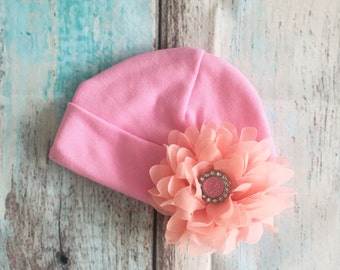 Pink Baby Girls Hospital Beanie Hat With Peach Chiffon Flower & Faceted Pink Rhinestone Button