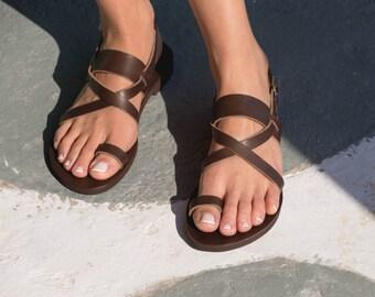 Greek Leather sandals,Strappy sandals,Handmade sandals,Flat sandals,Women sandals,Triskelion,IFIGENEIA