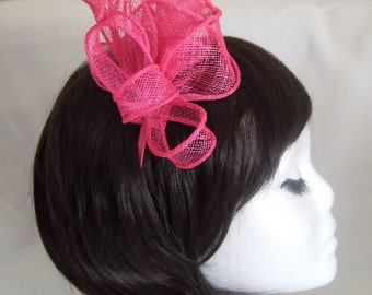 Pink coiled & looped sinamay and feathers Fascinator Aliceband. Mother of the Bride, Races Hat, Blue Fascinator, Wedding Hat