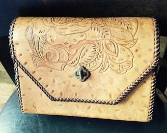 Vintage Hand Tooled Adjustable Shoulder bag, Hand Modeled & Laced