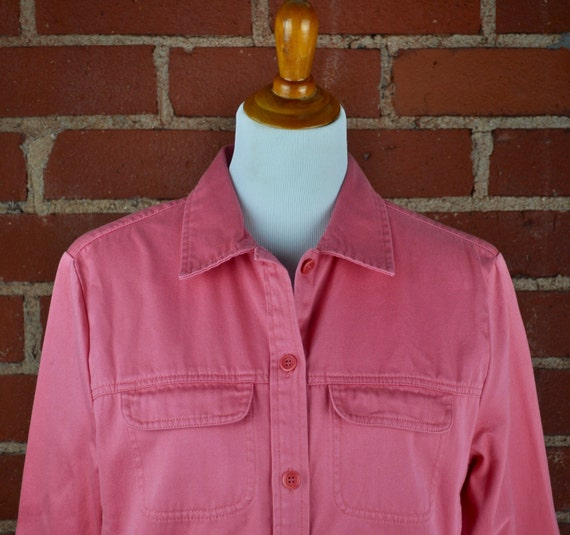 Women's Pendleton 100% Cotton Pink Denim Shirt Jacket Sz L