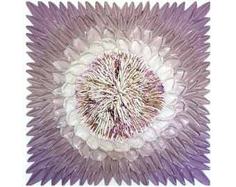 Original deep texture art purple flower painting 24x24