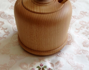 Wood Sugar Basin Rustic Kitchen Decor Wooden Bowl Canister Wood Containers KItchen Utensil Tea Coffee  Salt Can With Lid Spoon Organic