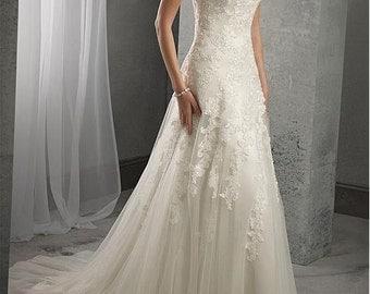 Scoop Neck Beaded Wedding Dress