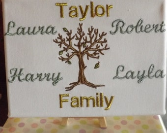 Personalised embroidered family tree