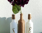 Glass bottle, Custom, Set of 3, Glass vase, Wedding Centerpiece, Home Decor, Twine,  White Spray Paint