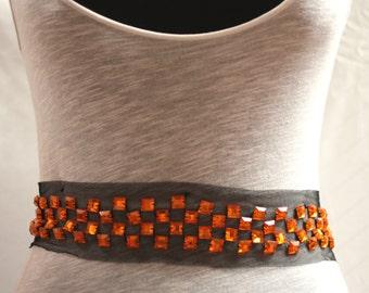 Black and Orange Acrylic Stone Trimming - JR09248