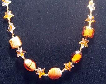 20 inch Orange Lampwork Glass Necklace