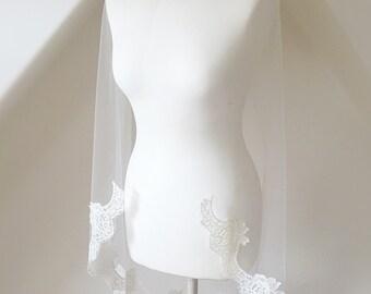 Scallop Lace, Lace Veil, Lace Trimmed Veil, Fingertip Veil, Chapel, Cathedral, Wedding Veil - 'Katie'