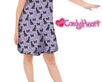 Cat Dress Kids Cat Dress Black Cat Dress Purple Blue Girls *****MTO, Month****