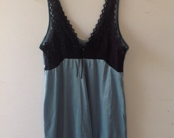 Vintage 90s sage green slip dress with black lace features. Approximate size adult small