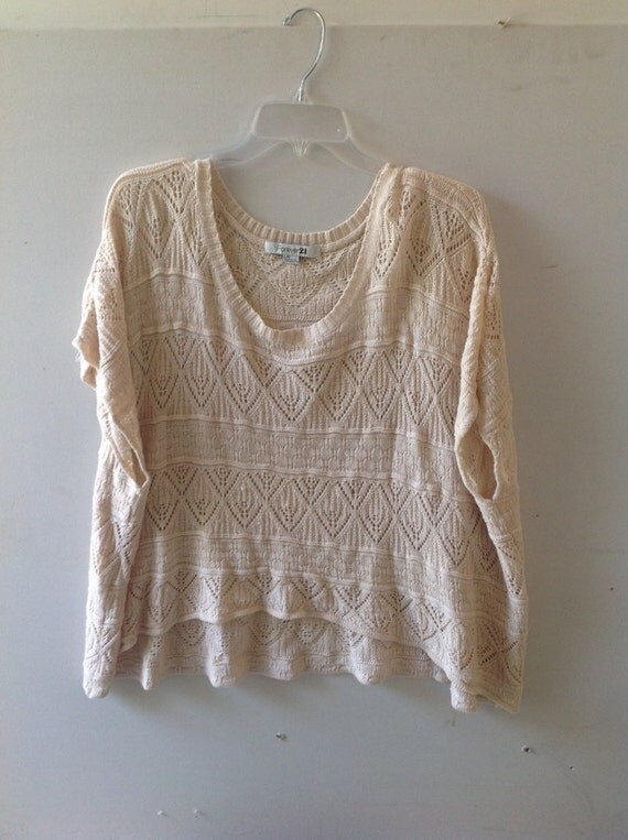 Crocheted knitted poncho, loose fitting top, short sleeve, size Large (junior women)