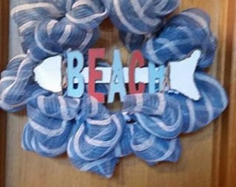 Blue Beachy Deco Mesh Wreath