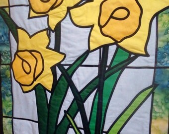 Stained glass quilted daffodils wall hanging
