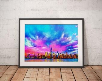 New York City Skyline Pink Clouds Print, Painting,