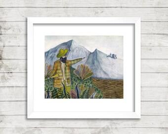 Mountain Man Illustration, Art Print