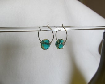 Small hoops with Teal beads
