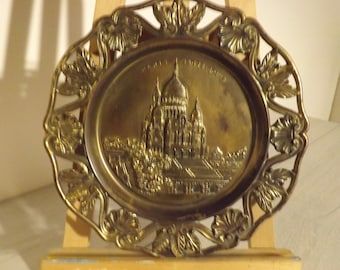 Vintage brass, hanging plate Paris wall, sacred heart