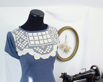 shabby chic shirt, womens tee shirt, blue top with short sleeves, doily and floral print, lace shirt, upcycled fashion