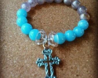 Blue/Grey Cross Beaded Bracelet