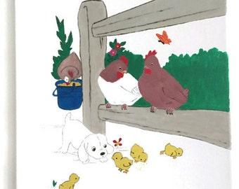 Farm Life, Acrylic Painting on Canvas, Original Painting, Canvas Painting, Original Art, Wall Art, Home Decor, Barn, chicken, chicks, puppy