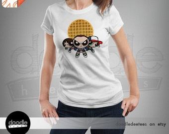 StrangerPuff Gang: A Stranger Things Tshirt; Unisex, Womans, Ladies Fit, Ringspun