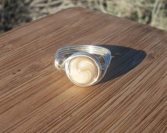 Mother-Of-Pearl Gemstone Ring, Size 6.5 , Silver filled wire wrapped ring, Beige, nacre Mother Of Pearl Gemstone.