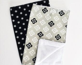 Baby Burp Cloths-Black and White Burp Cloths-Grey Burp Cloth-Set of Two Butp Cloths