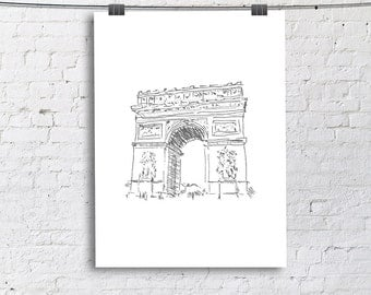Arc De Triomphe Paris French Sketch Art Print, Living Room Fine Art Print, Vertical Modern Art