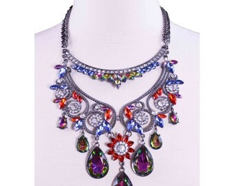 Silver Fashion Multicolor Rhinestones Jewelry Statement Necklace for Women