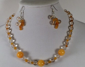 Yellow Bead and Clear Glass Necklace and Earrings