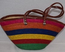 Vintage Boho Tote Style Bag Gets a Summery Look From a Woven Rainbow Rattan Design / Tote or Shoulder Bag
