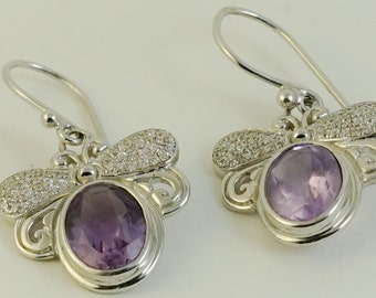 Amethyst Bee Earrings Amethyst Honey Bee Earrings Amethyst Children Earrings Free Shipping