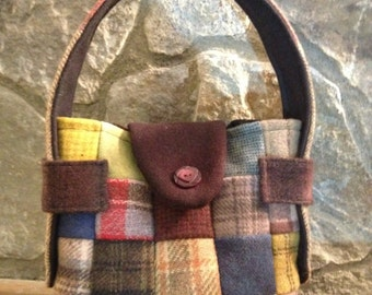 Small Patchwork Wool Over-the-Shoulder or Clutch Hobo Purse