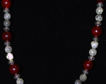 "KCS-3042 - 26"" Russian Serpentine, Quartzite and Silver Necklace"
