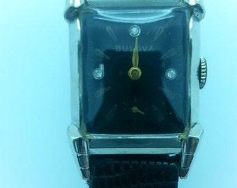 Bulova Men's Wrist Watch Circa 1950 Deco Style