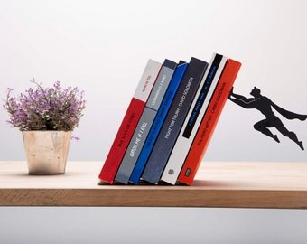 Book & Hero Bookend by Artori Design - Cool Gifts - metal Bookends - Designed Bookend- Bookends- Book accessories