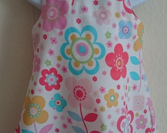 Flower power dress with matching bow