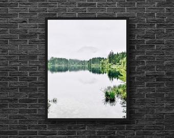 Water Reflection Photo - Lake Photography - Forest Lake - Lake Print - Green and White - Vertical - Lake Wall Decor - Green Wall Decor