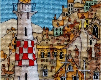 Completed Cross Stitch of Lighthouse, Completed scenery Cross Stitch embroidery, Finished Cross Stitch, Sea theme