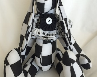 Black and White Checkered Bunny Rabbit with Musical Note Ruffle