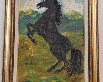Naive oil painting of black stallion