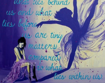 Purple Acrylic Painting Canvas Print, What Lies Within, Inspirational Quote Fine Art, Dancer Shadow Wall Art, Giclee