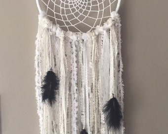 Medium white dream catcher with black feathers