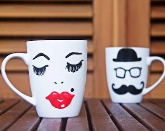 Couple Mug for Coffee, Couple Big Handpainted Mug, Coffee Mug, Coffee White Mug, Coffee Mug for Couple - Mrs and Mr