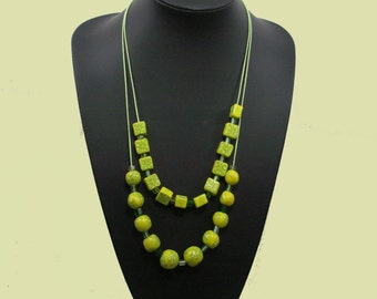 Double green-yellow necklace with matching earrings