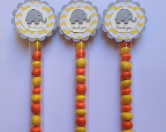 Favour/Favor Tubes. Candy/Lolly Tubes. Yellow & Grey. Baby Shower.  Thank You. Pack of Twelve.