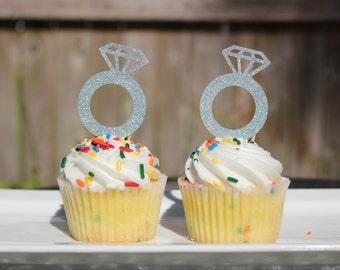 Set of 12 Glitter Engagement Diamond Ring Cupcake Topper