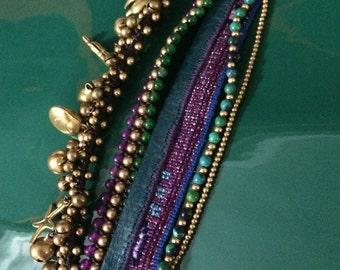 Bracelet Boho - Chiapas - (Verde-Morado)